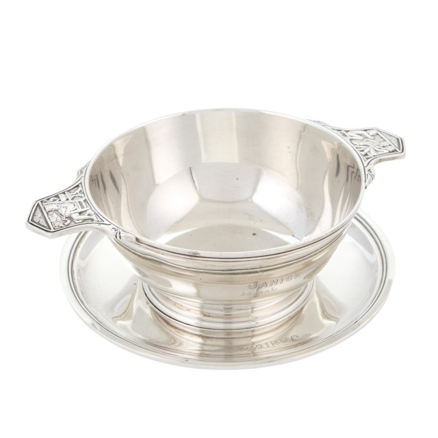 Tiffany and Co. Makers Sterling Silver Child's Two-Handled Bowl and Stand