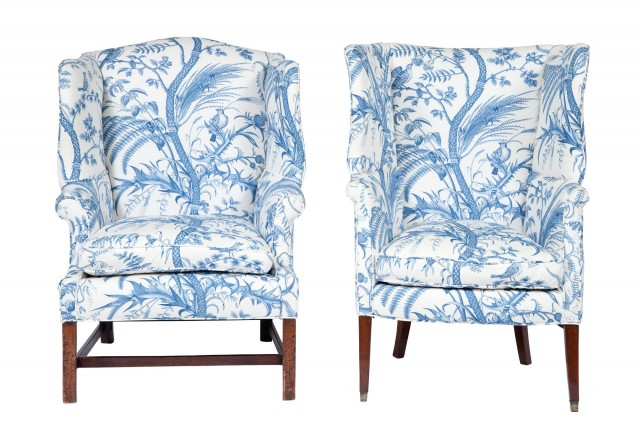 Two George III Style Upholstered Mahogany Wing Chairs