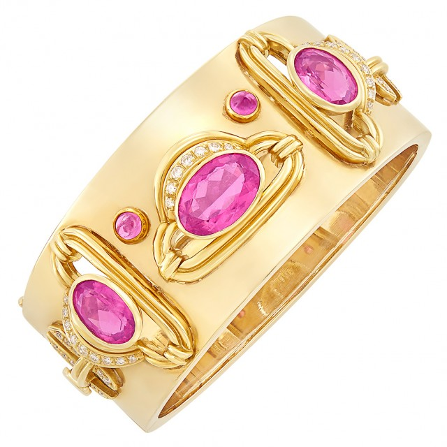 Gold, Pink Tourmaline and Diamond Cuff Bangle Bracelet