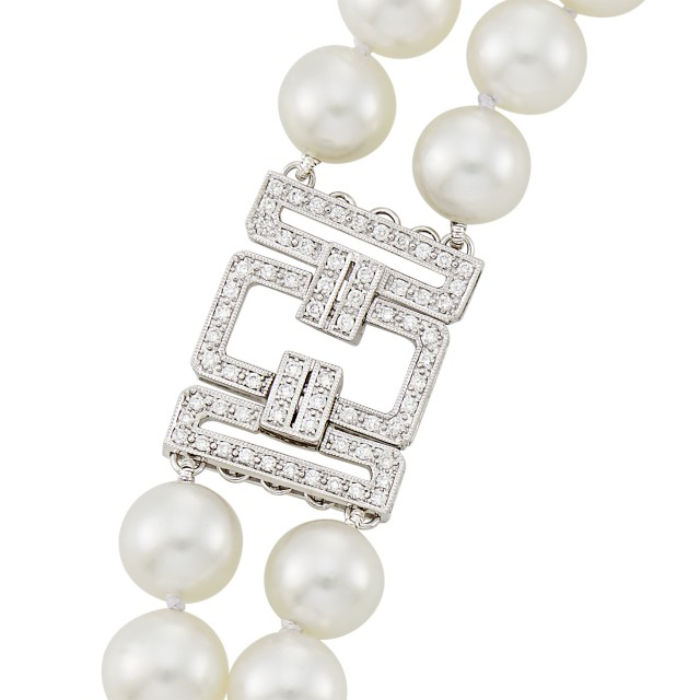 Double Strand South Sea Cultured Pearl, White Gold and Diamond Necklace