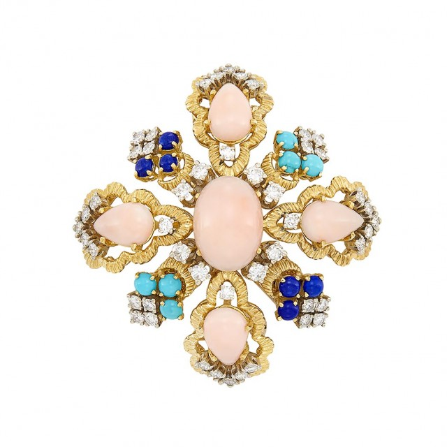 Gold, Angel Skin Coral, Lapis, Turquoise and Diamond Clip-Brooch