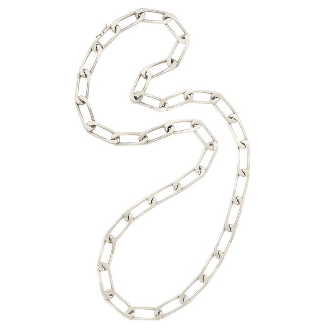 Long White Gold Curb Link Chain Necklace, Cartier