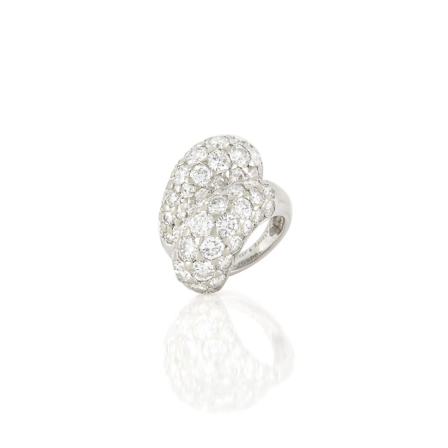 Platinum and Diamond Crossover Bombé Ring, Van Cleef & Arpels