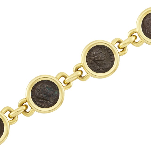 Gold and Bronze Coin Bracelet
