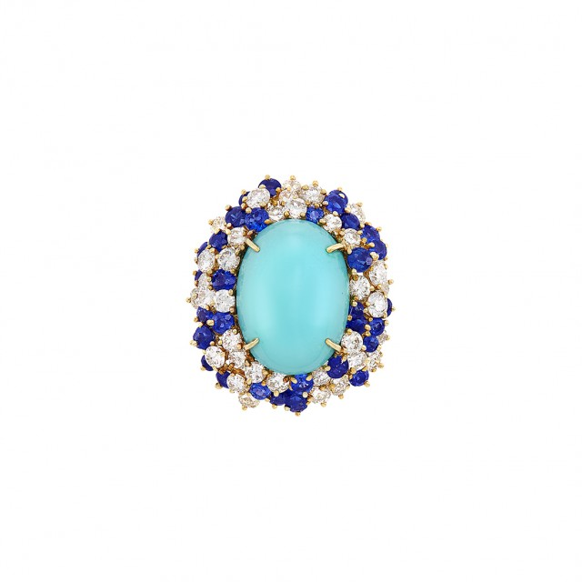 Gold, Turquoise, Diamond and Sapphire Ring