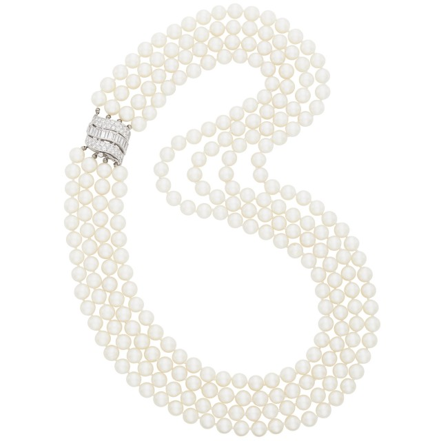 Four Strand Cultured Pearl Necklace with White Gold and Diamond Clasp
