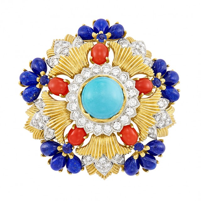 Gold, Platinum, Turquoise, Coral, Lapis, Diamond and Sapphire Clip-Brooch