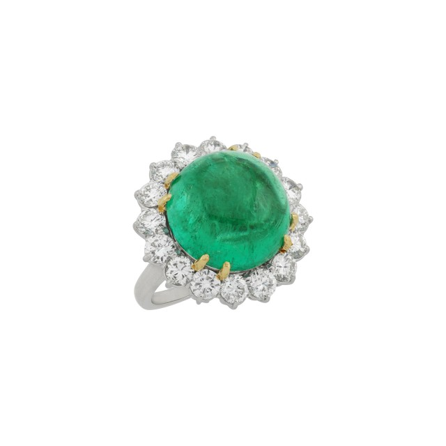 Platinum, Gold, Cabochon Emerald and Diamond Ring