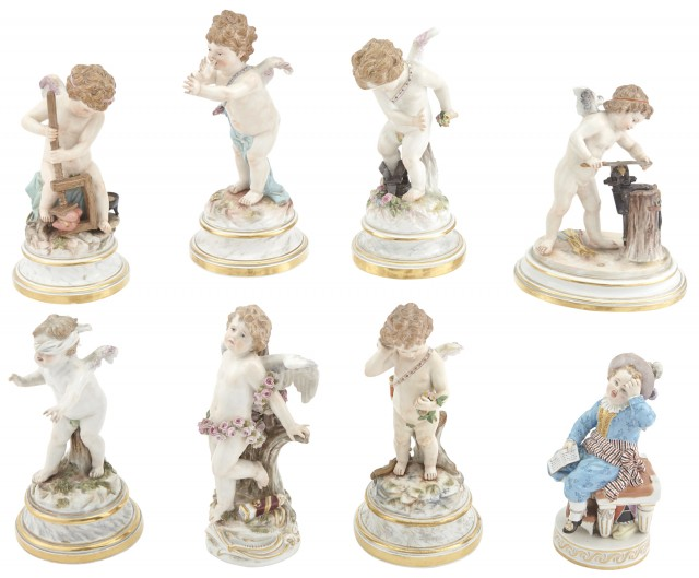 Group of Eight Meissen Porcelain Figures