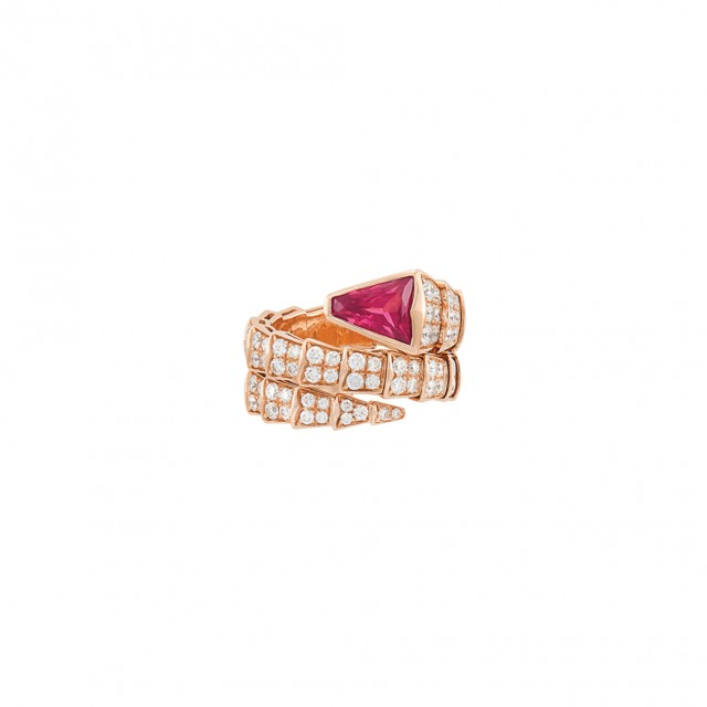 Rose Gold, Pink Tourmaline and Diamond \'Serpenti\' Ring, Bulgari