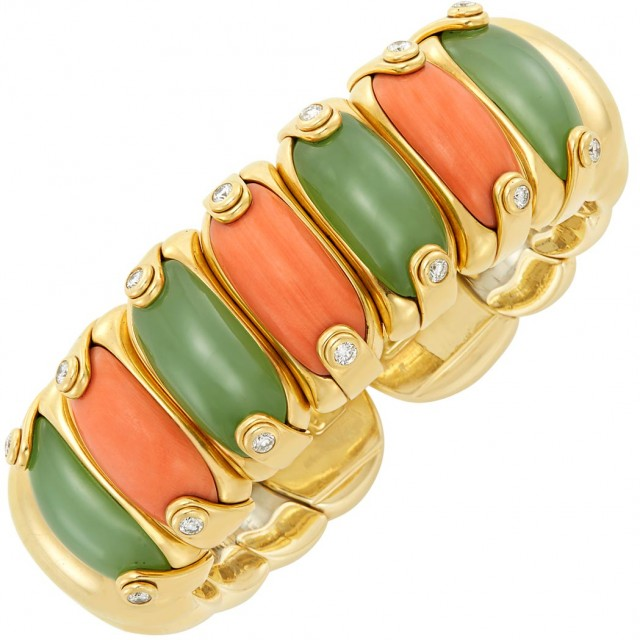 Gold, Stainless Steel, Coral and Nephrite Bangle Bracelet, Milano Piero