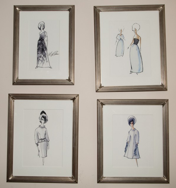 [CASSINI-KENNEDY FASHIONS]  Group of five framed reproduction photographs of fashion designs made for Jacqueline Kennedy.