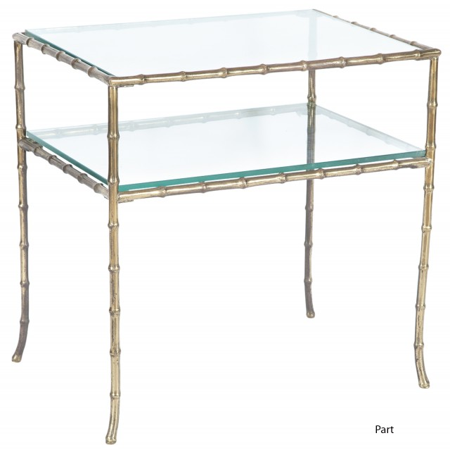 Pair of Maison Jansen Bronze Faux Bamboo Side Tables