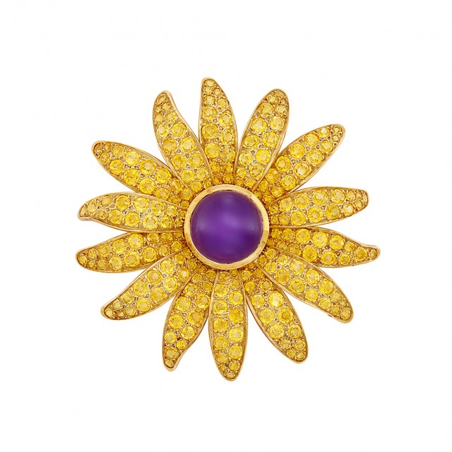 Gold, Cabochon Amethyst and Yellow Sapphire Flower Brooch, Jean Vitau
