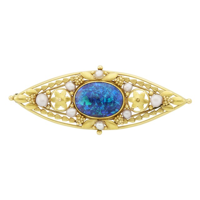 Gold, Opal and Pearl Brooch