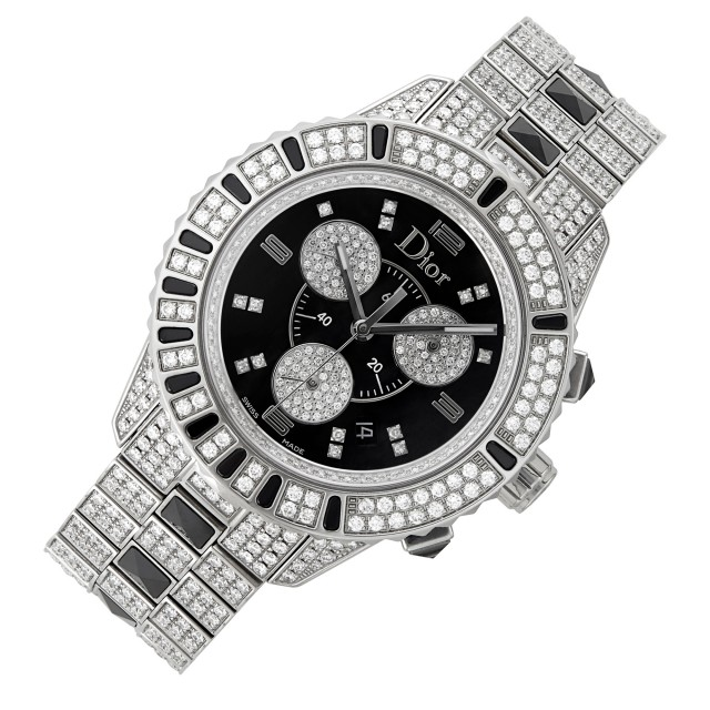Christian Dior, Stainless Steel, Diamond and Black Sapphire 'Christal' Chronograph Wristwatch