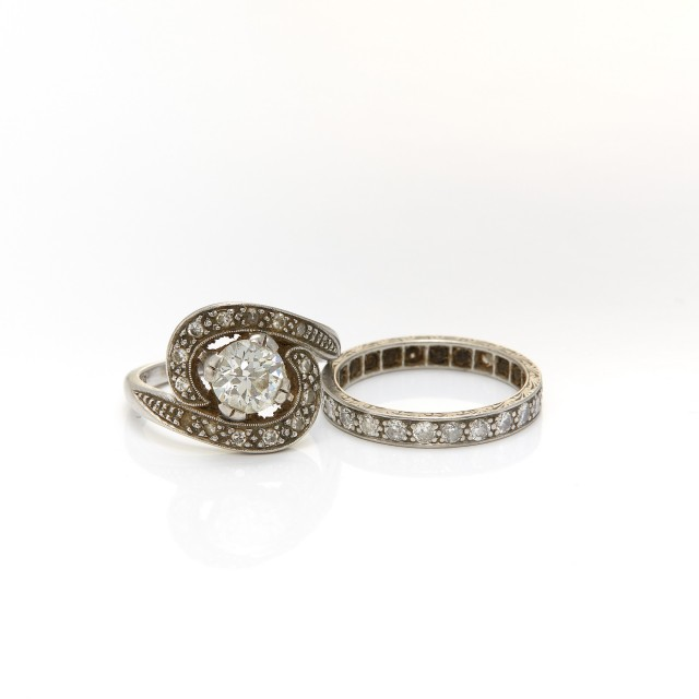 Platinum and Diamond Ring and Band Ring