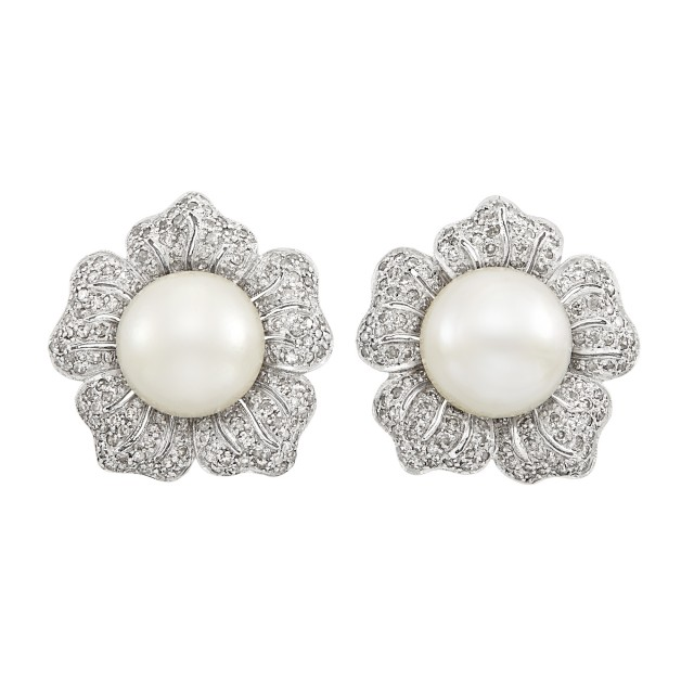 Pair of White Gold, South Sea Cultured Pearl and Diamond Flower Earclips