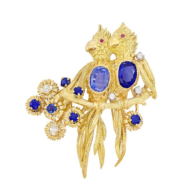Gold, Sapphire and Diamond Love Bird Brooch, Peter Lindeman