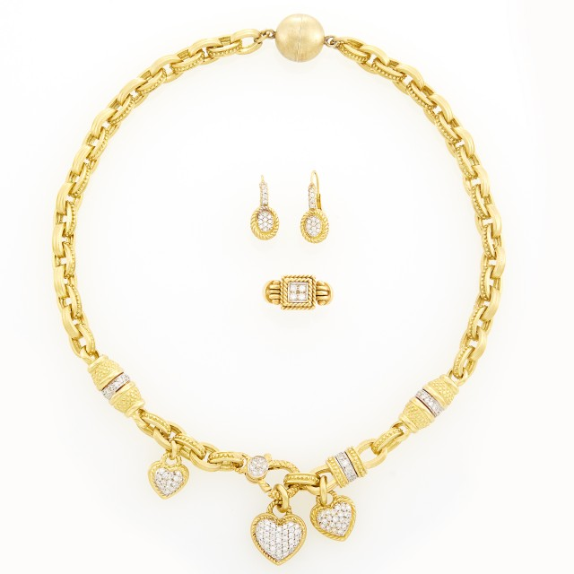 Gold and Diamond Necklace, Ring and Pair of Earrings