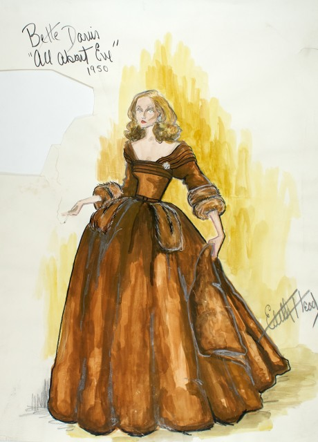 Edith Head  An important original costume drawing for Bette Davis in All About Eve, 1950.