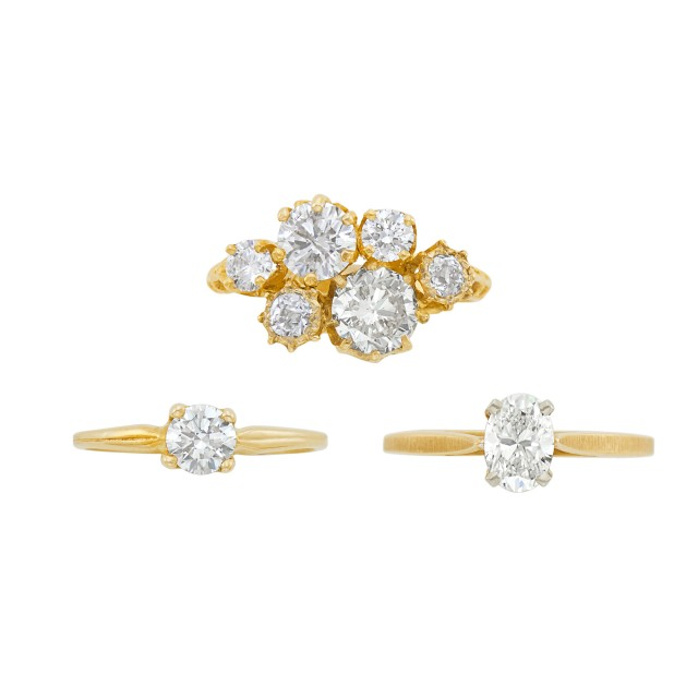 Low Karat Gold and Diamond Ring and Two Gold and Diamond Rings