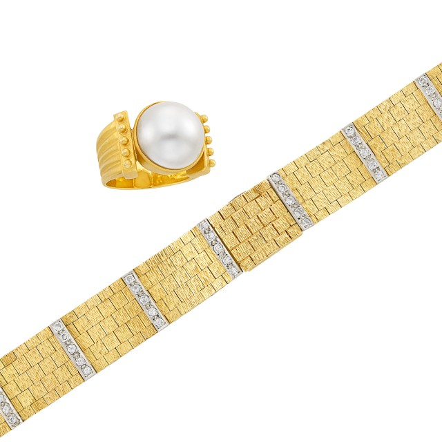 Gold and Mabé Pearl Ring and Two-Color Gold and Diamond Bracelet-Watch