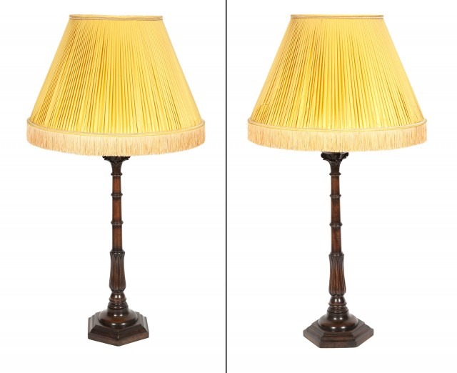 Pair of George IV Style Wood Lamps with Yellow Shades