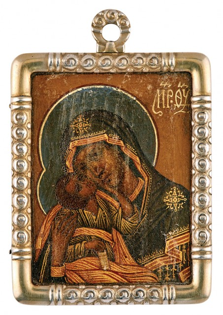 Fabergé Silver-Gilt Icon of the Mother of God