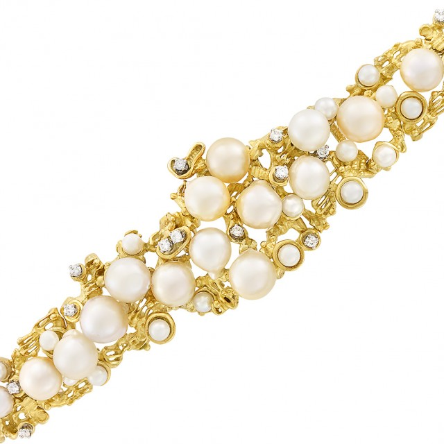 Gold, Cultured and Semi-Baroque Cultured Pearl and Diamond Bracelet, Peter Lindeman