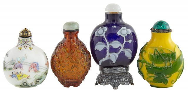 Group of Four Chinese Glass Snuff Bottles