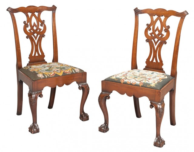 Set of Seven Chippendale Style Mahogany Side Chairs