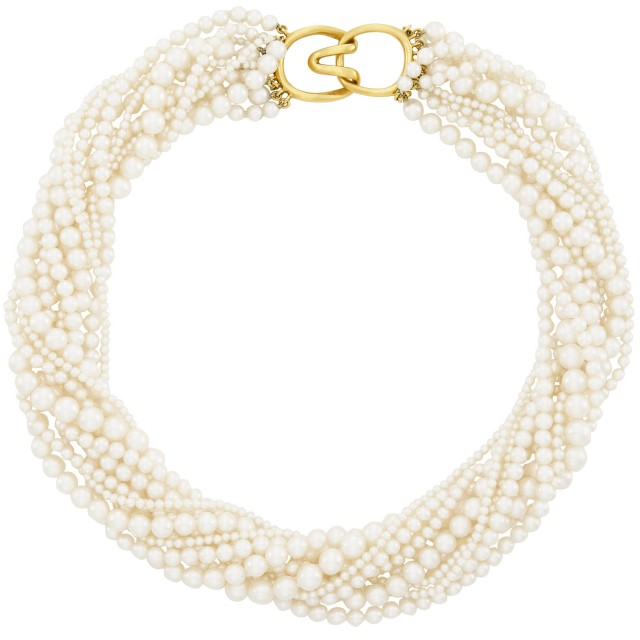 Eleven Strand Cultured Pearl Torsade Necklace with Gold Clasp, Tiffany & Co.
