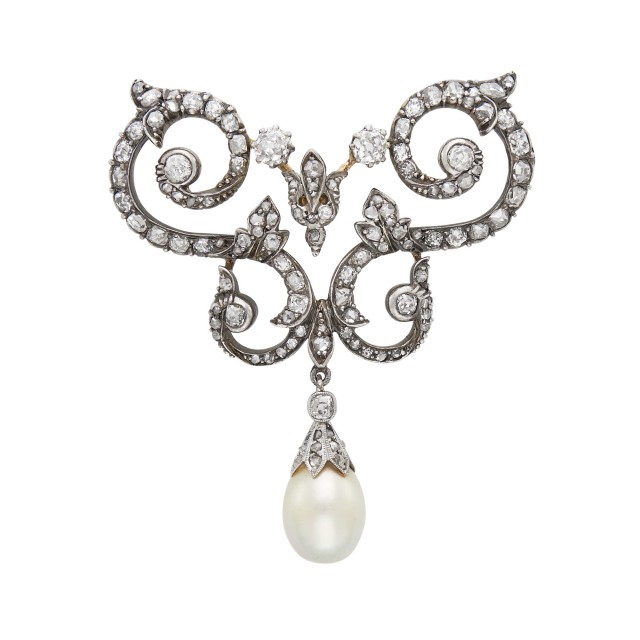 Antique Silver, Gold, Diamond and Natural Pearl Brooch