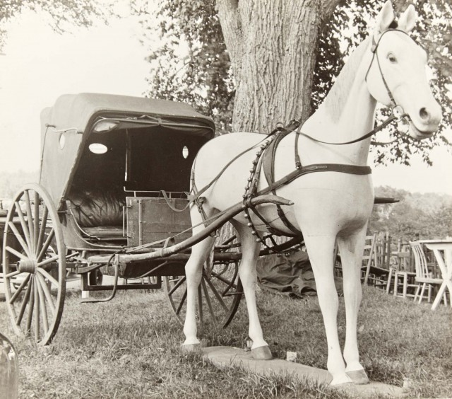 EVANS, WALKER (1903-1975)  [Concrete horse with buggy]