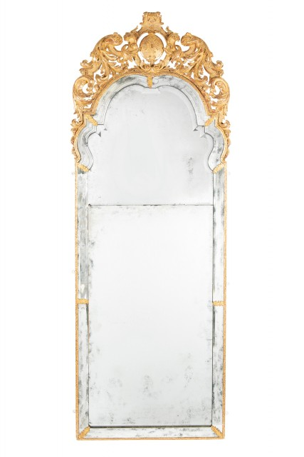 George I Gilt-Gesso and Giltwood Pier Mirror