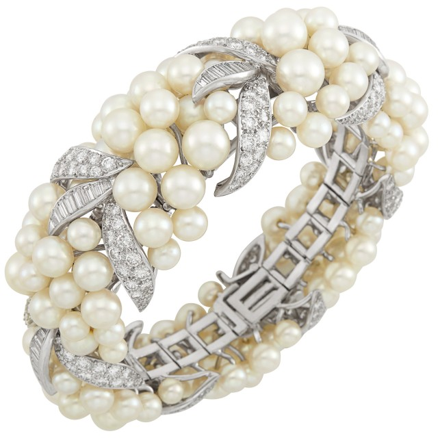 Platinum, White Gold, Cultured Pearl and Diamond Bracelet, David Webb