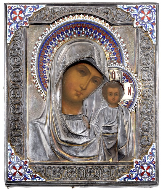 Russian Silver, Cloisonné and Champlevé Enamel Icon of the Mother of God of Kazan