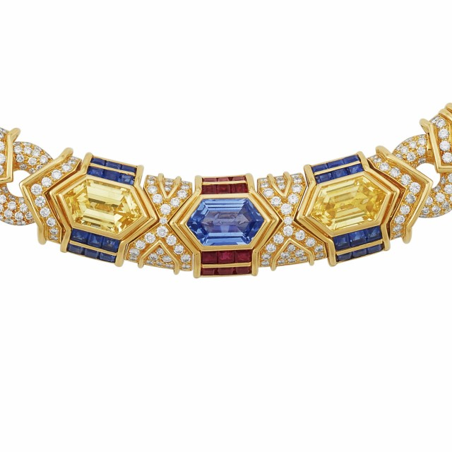 Gold, Sapphire, Yellow Sapphire, Ruby and Diamond Curb Link Necklace, Bulgari
