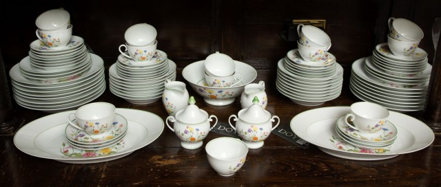 Denby Floral Decorated Bone China Partial Dinner Service