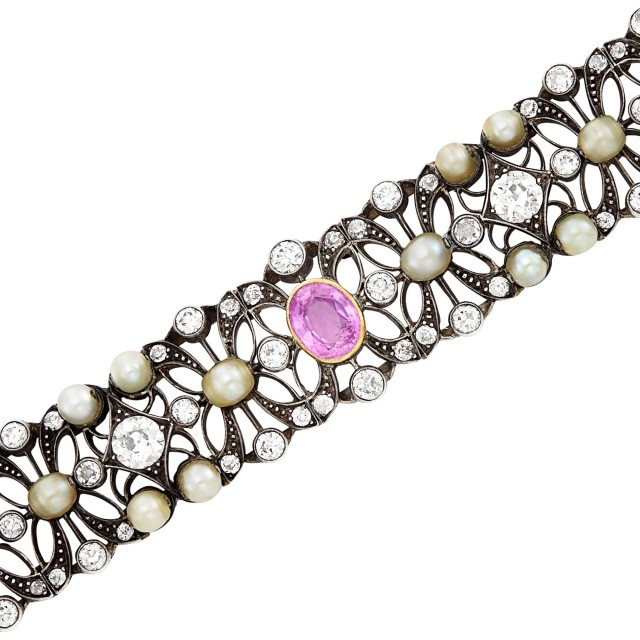 Silver, Gold, Pink Sapphire, Button Pearl and Diamond Bracelet