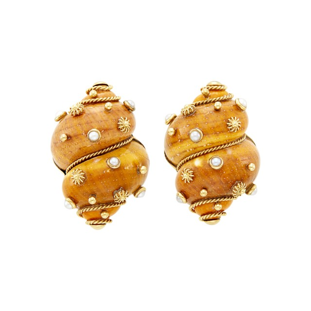 Maz Pair of Gold, Shell and Split Pearl Earrings