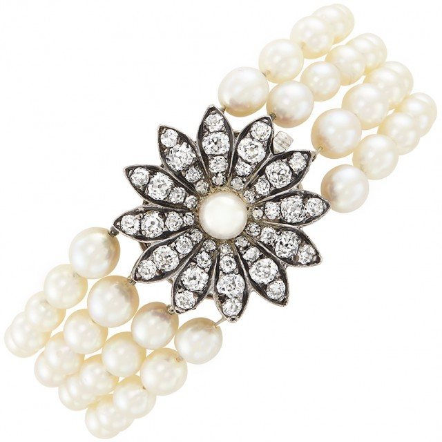 Four Strand Cultured Pearl Bracelet with Antique Silver, Gold, Cultured Pearl and Diamond Flower Clasp