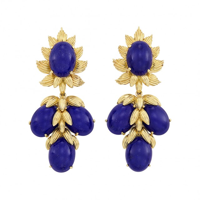 Pair of Gold and Lapis Pendant-Earrings