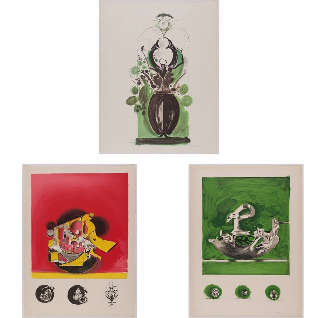 Graham Sutherland 1903-1980)  COMPOSITIONS  Three color lithographs, signed, one inscribed H/C