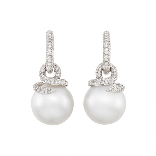 Pair of White Gold, South Sea Cultured Pearl and Diamond Pendant-Earrings