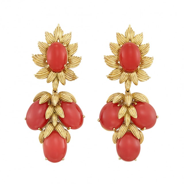 Pair of Gold and Oxblood Coral Pendant-Earrings