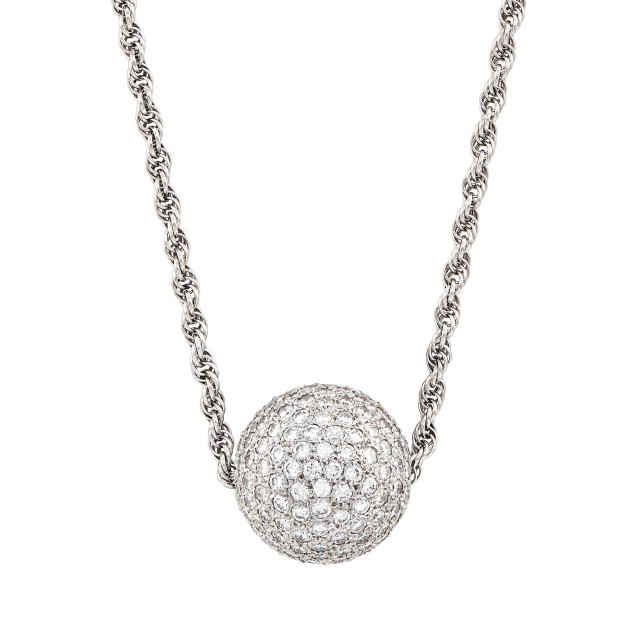 Long White Gold and Diamond Ball Pendant-Necklace