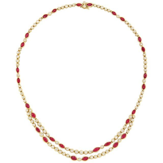 Gold, Ruby and Diamond Necklace