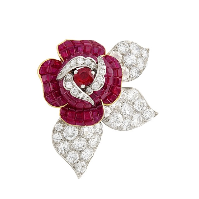 Platinum, Gold, Mystery-Set Ruby and Diamond Flower Clip-Brooch, Van Cleef and Arpels